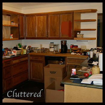 A cluttered kitchen - not good for an appraisal
