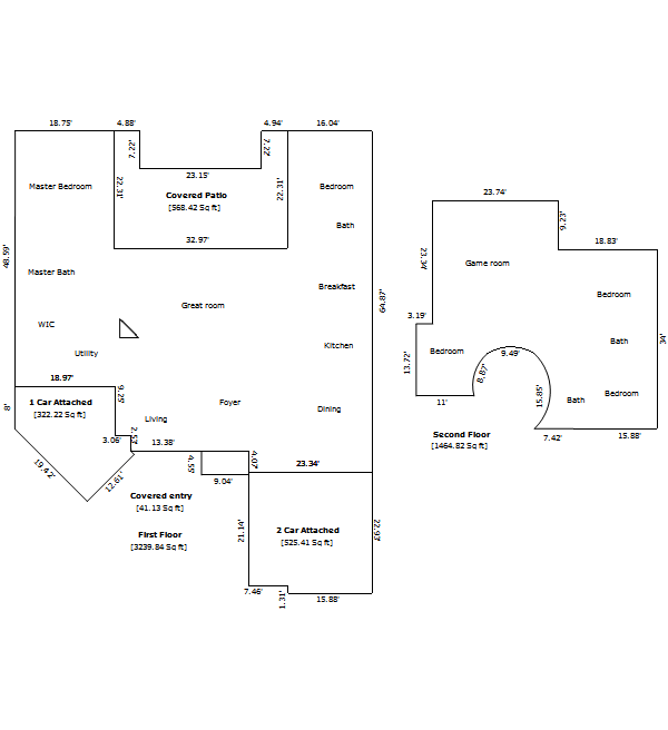 A complex home sketch (floor plan)