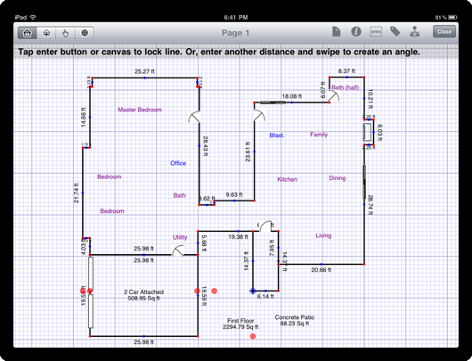 A real estate appraisal sketch on an Apple iPad