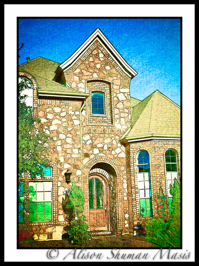A digital art print of a limestone home in the Avery Ranch subdivision in Austin