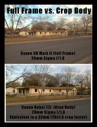 Comparison of 20mm Sigma lens on Canon 5D Mark II and Canon Rebel T2i