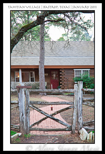 A log cabin in Tahitian Village in Bastrop Texas