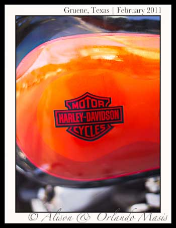 Ornage Harley Davidson Motorcycle in Gruene Texas
