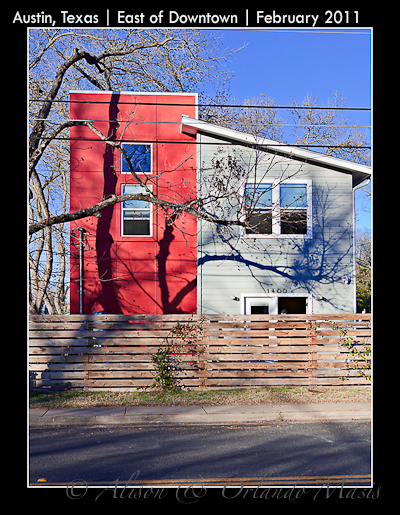 New home in East Austin - big boxy red