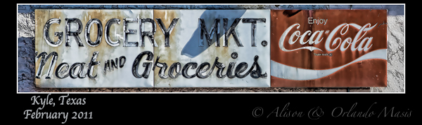 On Old Grocery Store sign in downtown Kyle, Texas