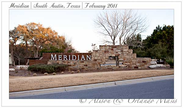 The entrance to the Meridian Austin TX subdivision
