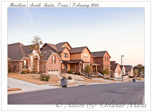 A row of homes in the Meridian Ausitn Texas subdivision