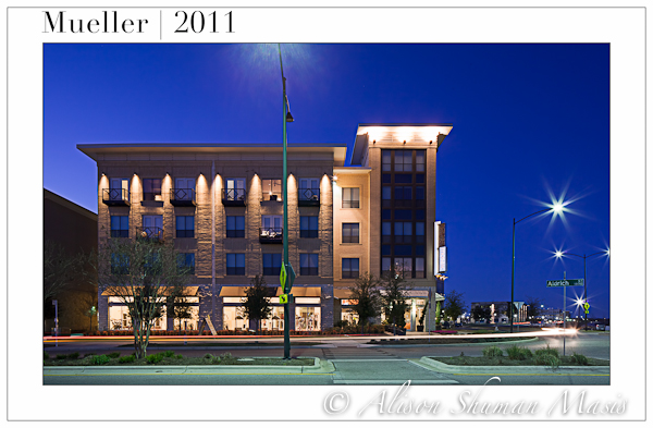 Mueller in Austin Texas at night - architectural photograph