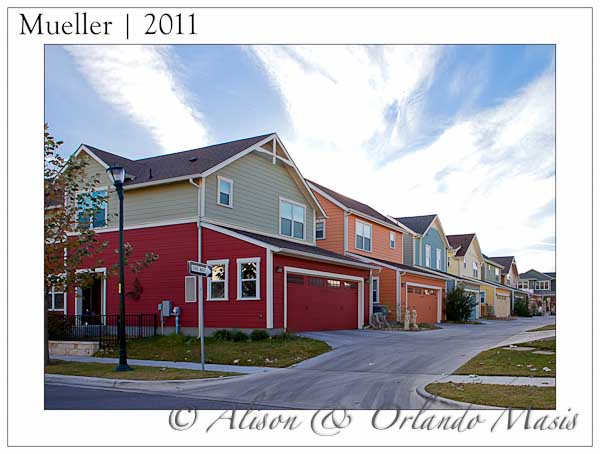 Colorsful houses in a row in the Mueller subdivision in Austin Texas