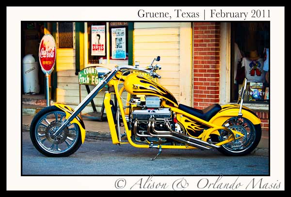 A Yellow Chevy V8 motorcycle from the streets of Gruene Texas