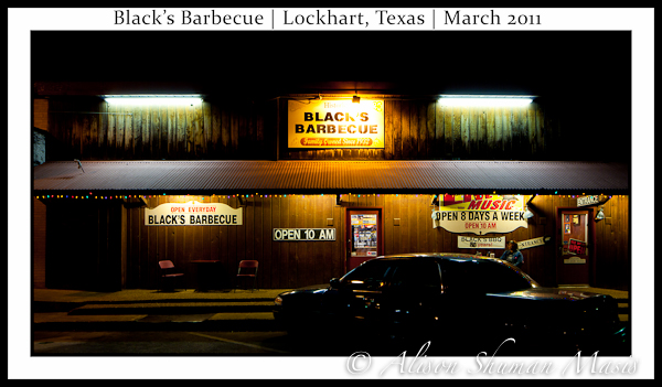 Black's BBQ in Lockhart Texas: Outside at Night