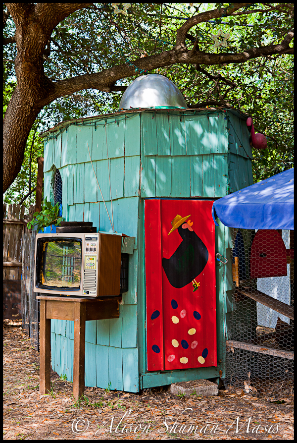 A turquoise and red chicken coop in Austin TX