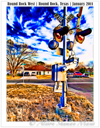 A  digital painting of a rail road crossing sign in Round Rock West Texas