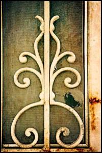 detail of a rusty screen door in Austin TX