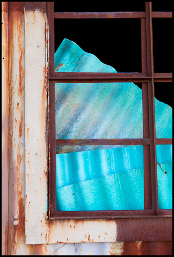 blue corrugated roofing from the salvage yard